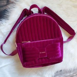 NWT Ted Baker velvet backpack purse